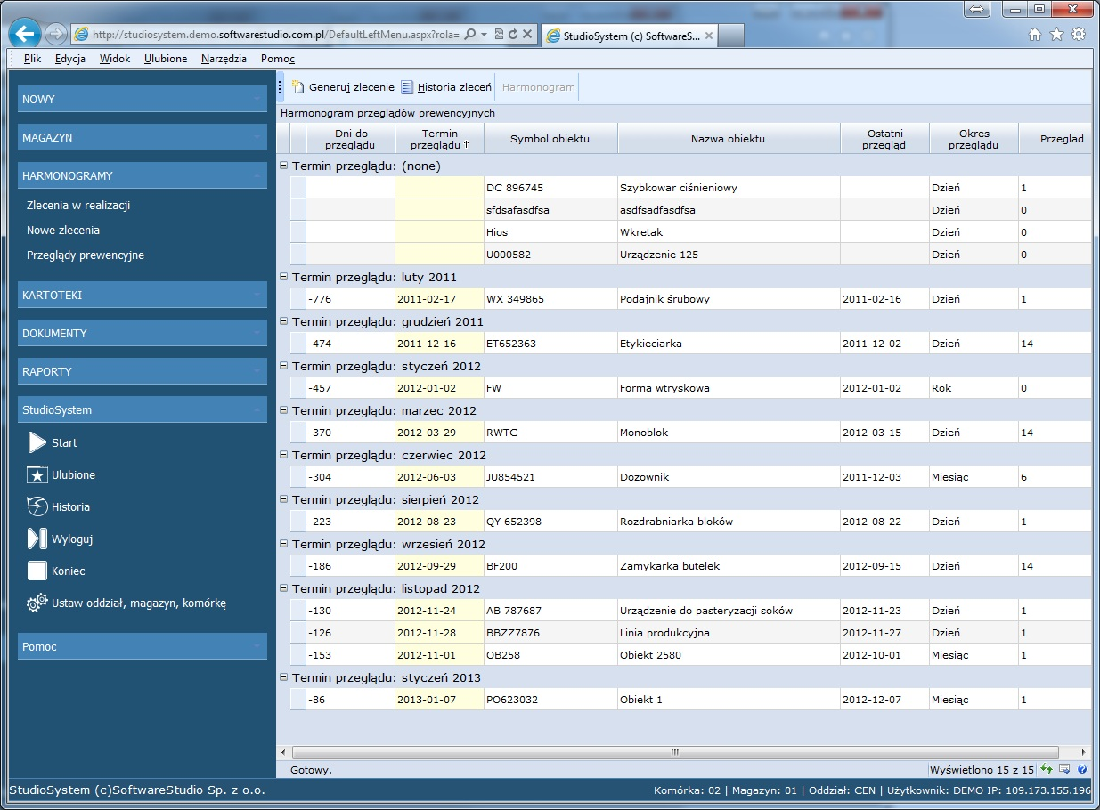 oprogramowanie cmms przeglądy prewencyjne